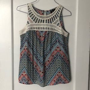 Tops - Red, blue, yellow crochet sleeveless blouse, PM